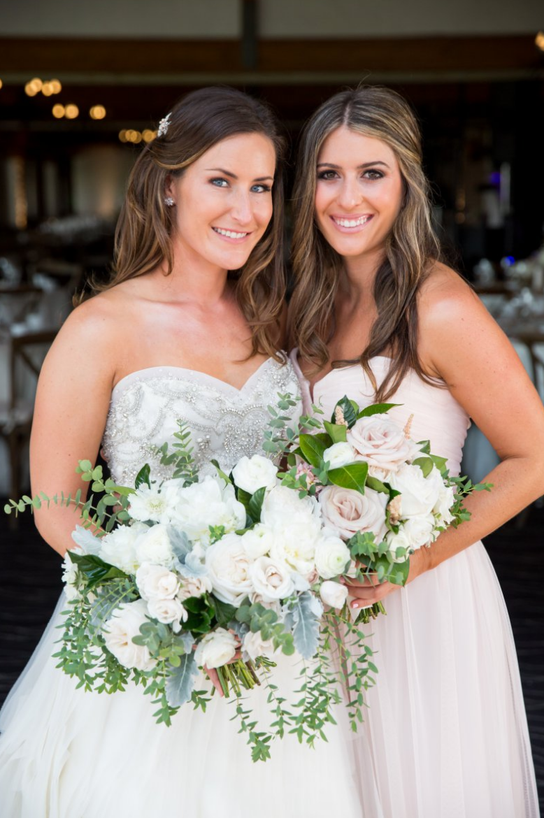 Garden romantic ivory & blush   bouquets by San Diego wedding florist, Compass Floral.