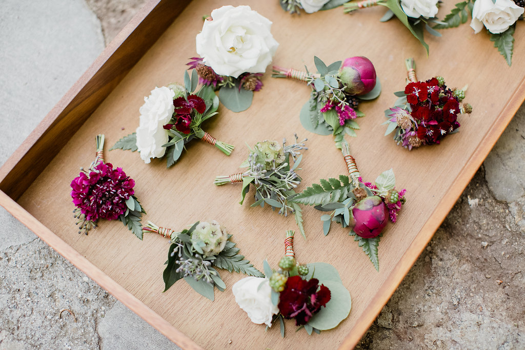 Marsala peony and white rose boutonnieres | Fallbrook Treehouse | Compass Floral | Wedding Florist in San Diego and Southern California | Allie Lindsey Photography