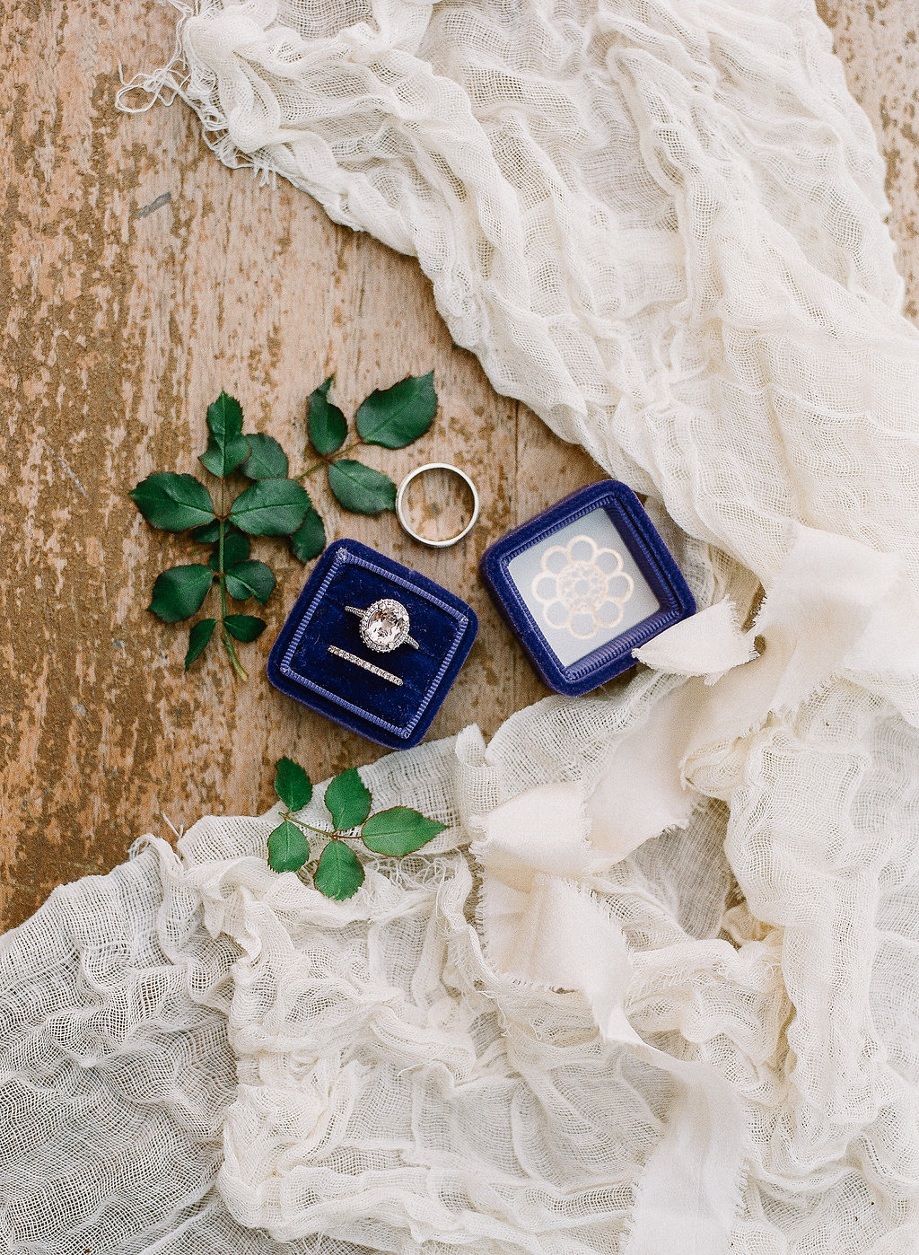 Velvet blue wedding ring detail photo | Fallbrook Treehouse | Compass Floral | Wedding Florist in San Diego and Southern California | Allie Lindsey Photography