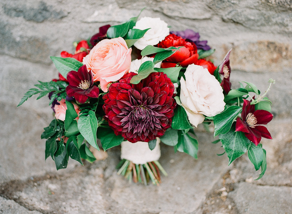 Dahlia, rose and clematisd bridal bouquet| Fallbrook Treehouse | Compass Floral | Wedding Florist in San Diego and Southern California | Allie Lindsey Photography