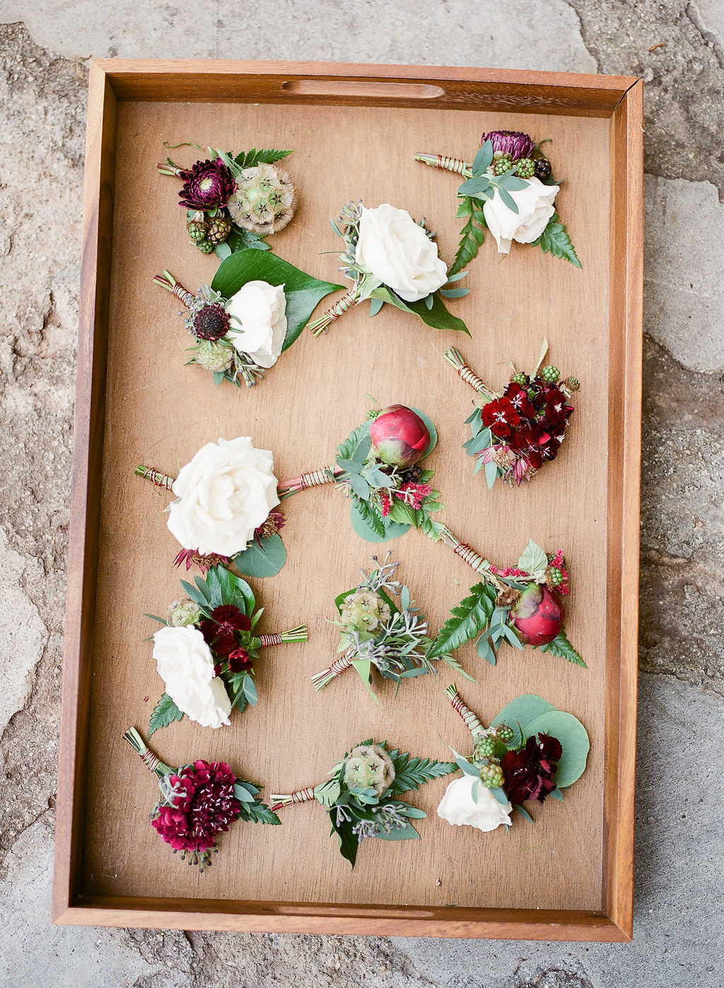 Marsala peony boutonniere | Fallbrook Treehouse | Compass Floral | Wedding Florist in San Diego and Southern California | Allie Lindsey Photography