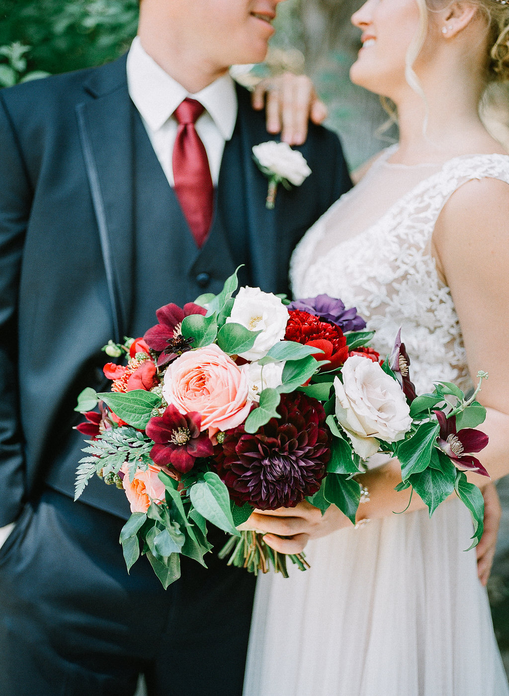Fall jewel tone bridal bouquet | Fallbrook Treehouse | Compass Floral | Wedding Florist in San Diego and Southern California | Allie Lindsey Photography