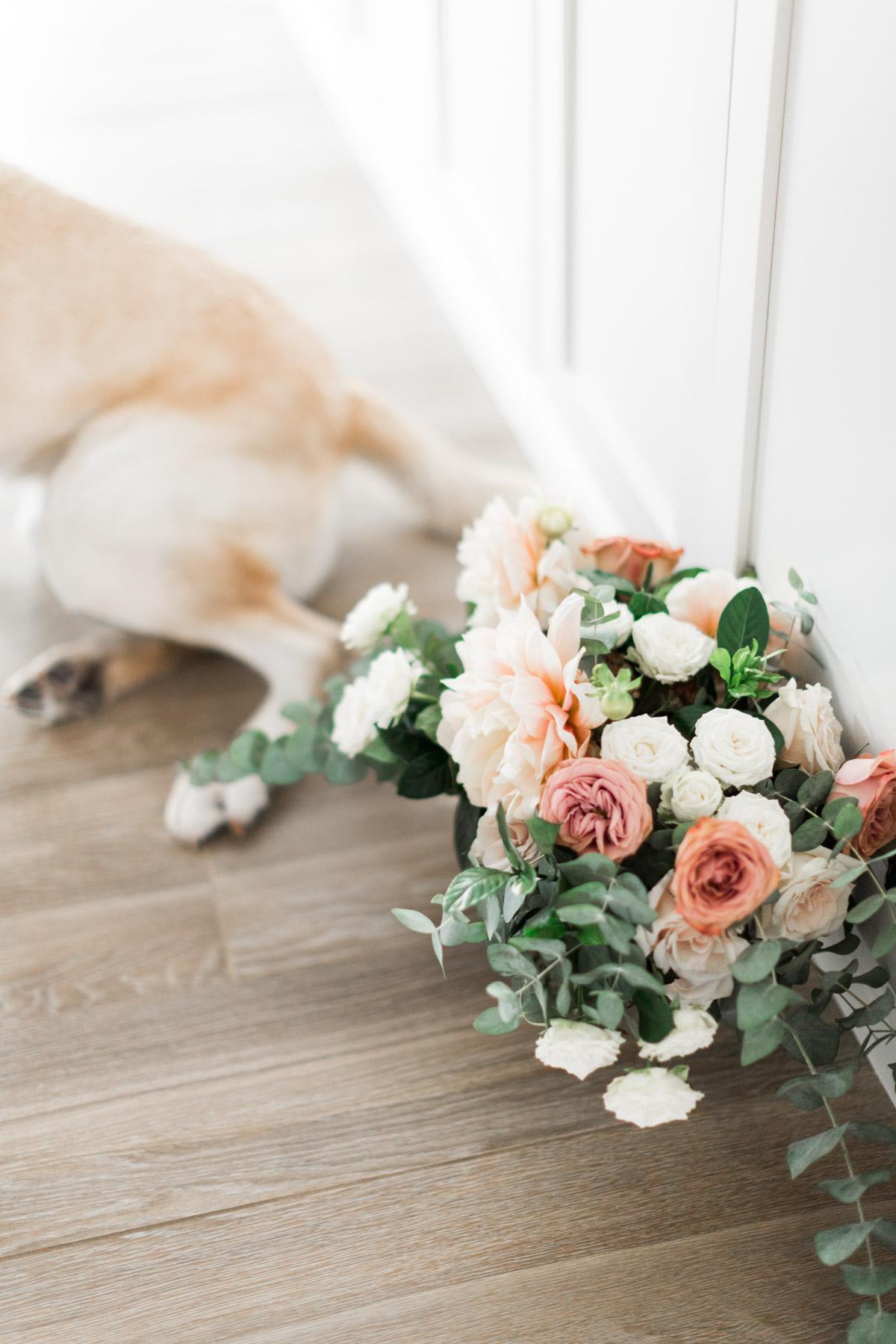 Elegant, classic, blush dahlia, cappuccino rose and eucalyptus bridal bouquet | Newport Beach, CA | Compass Floral | Wedding Florist in San Diego and Southern California | Cavin Elizabeth Photography