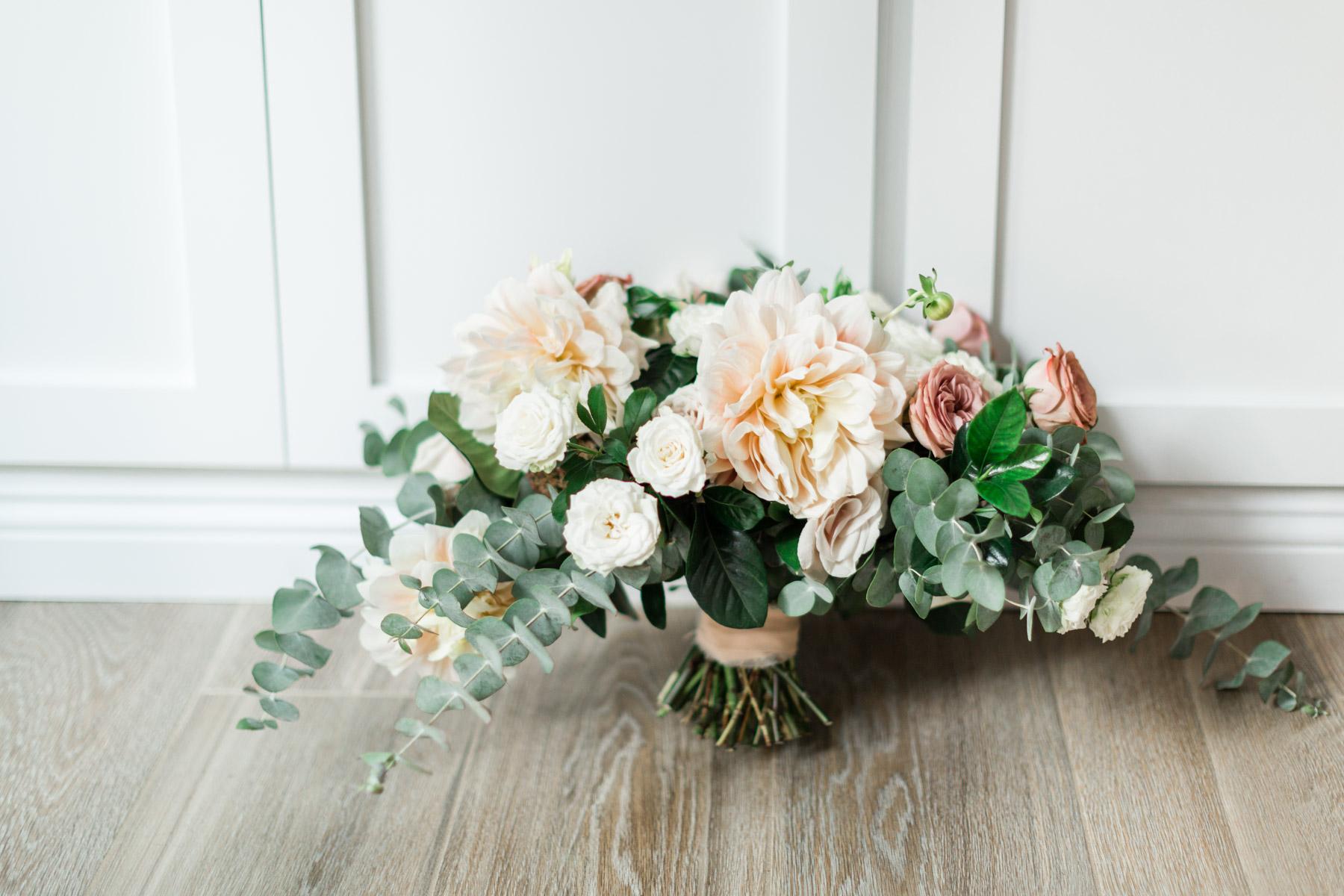 Romantic dahlia, rose and eucalyptus bridal bouquet | Newport Beach, CA | Compass Floral | Wedding Florist in San Diego and Southern California | Cavin Elizabeth Photography