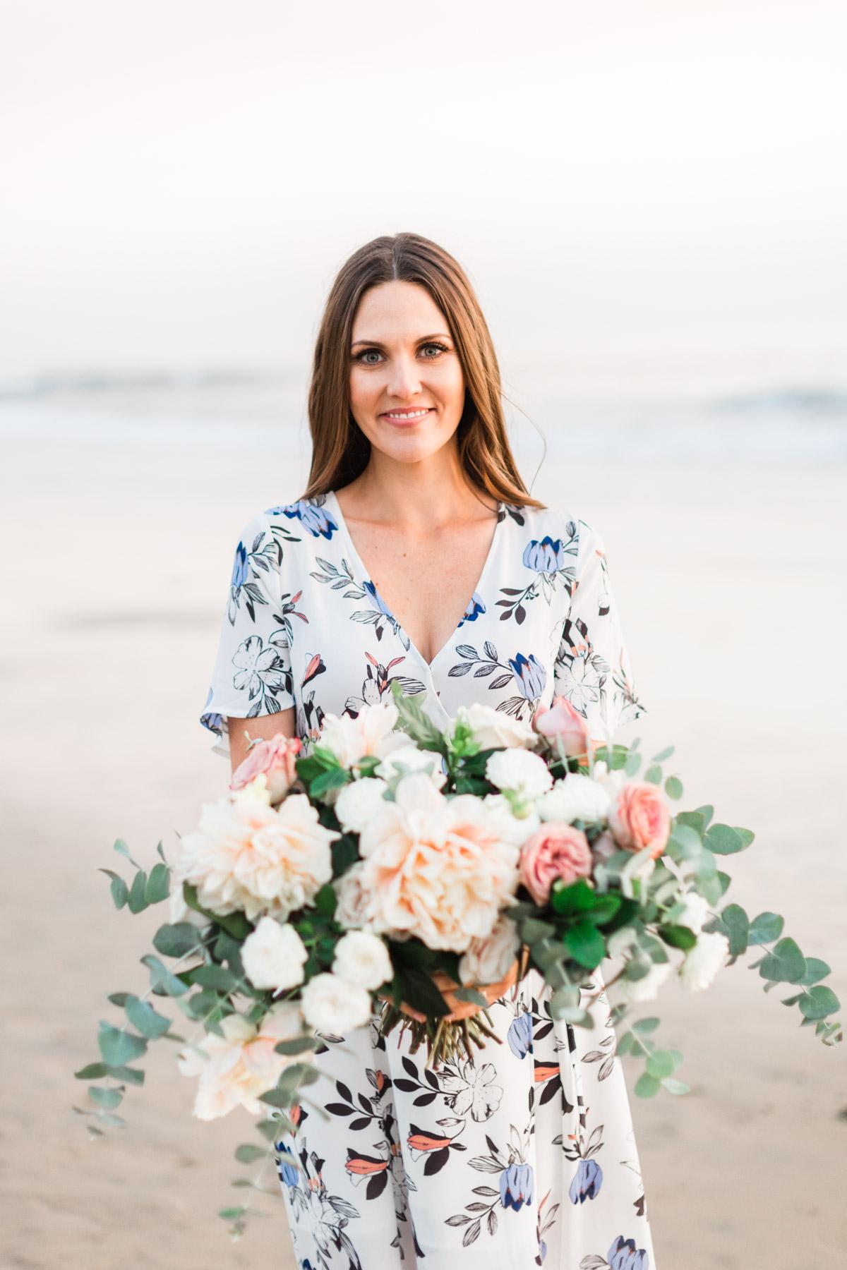 Romantic beach bridal bouquet of dahlias, roses and eucalyptus | Newport Beach, CA | Compass Floral | Wedding Florist in San Diego and Southern California | Cavin Elizabeth Photography