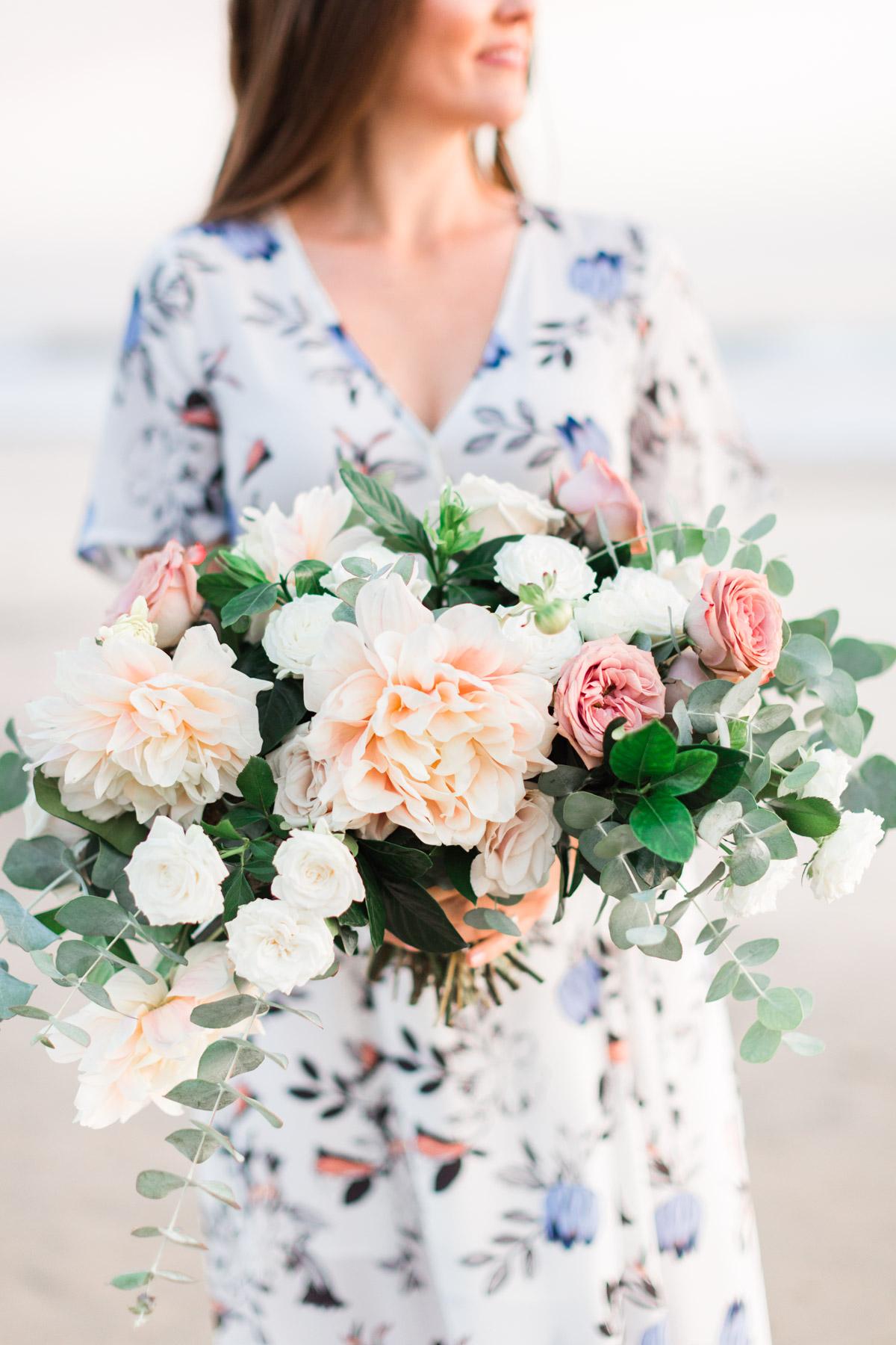 Blush dahlia, white rose and eucalyptus. Modern, romantic, elegant beach bridal bouquet | Newport Beach, CA | Compass Floral | Wedding Florist in San Diego and Southern California | Cavin Elizabeth Photography