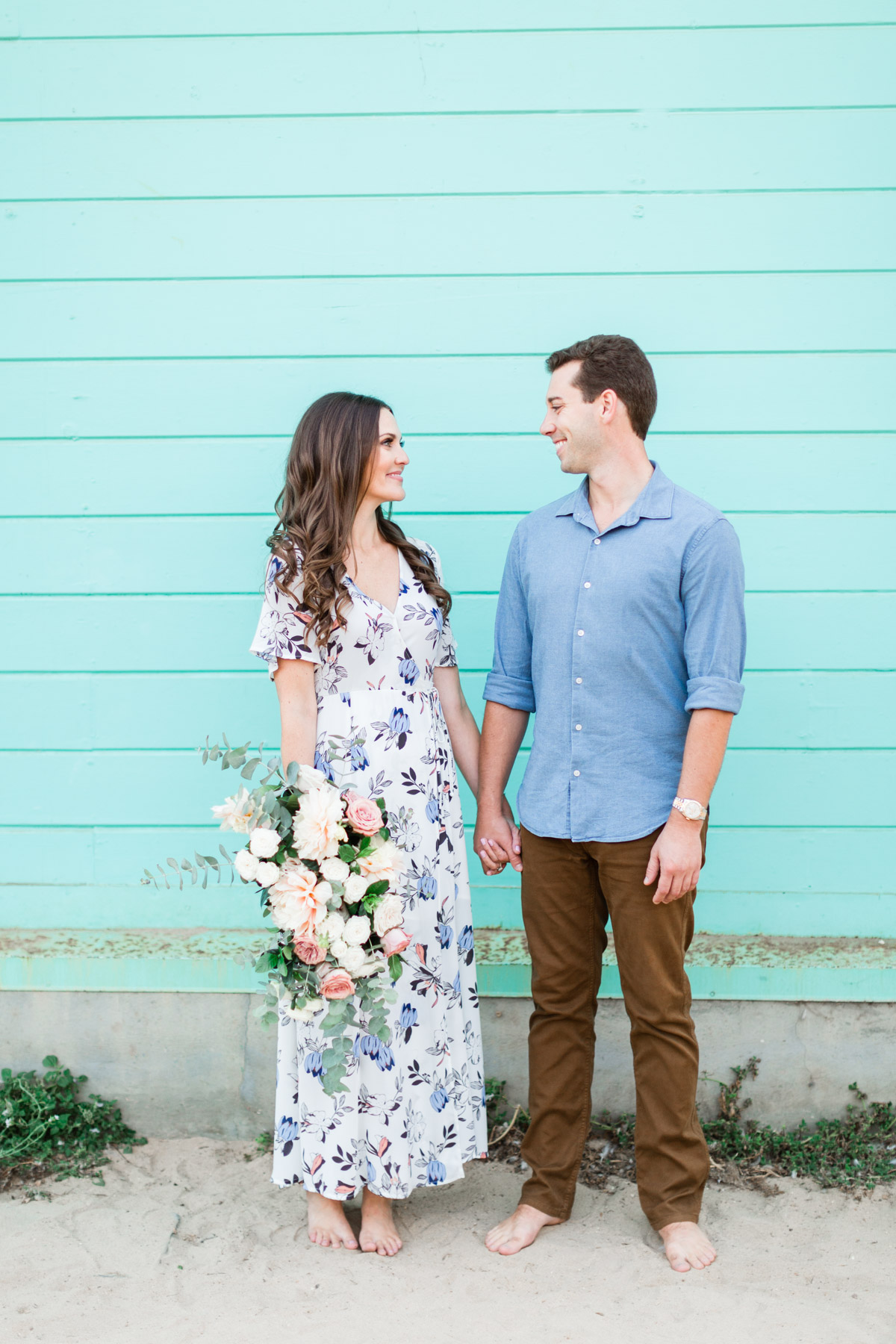 Blush dahlia, white rose and eucalyptus bridal bouquet for down to earth beach engagement photo session | Newport Beach, CA | Compass Floral | Wedding Florist in San Diego and Southern California | Cavin Elizabeth Photography