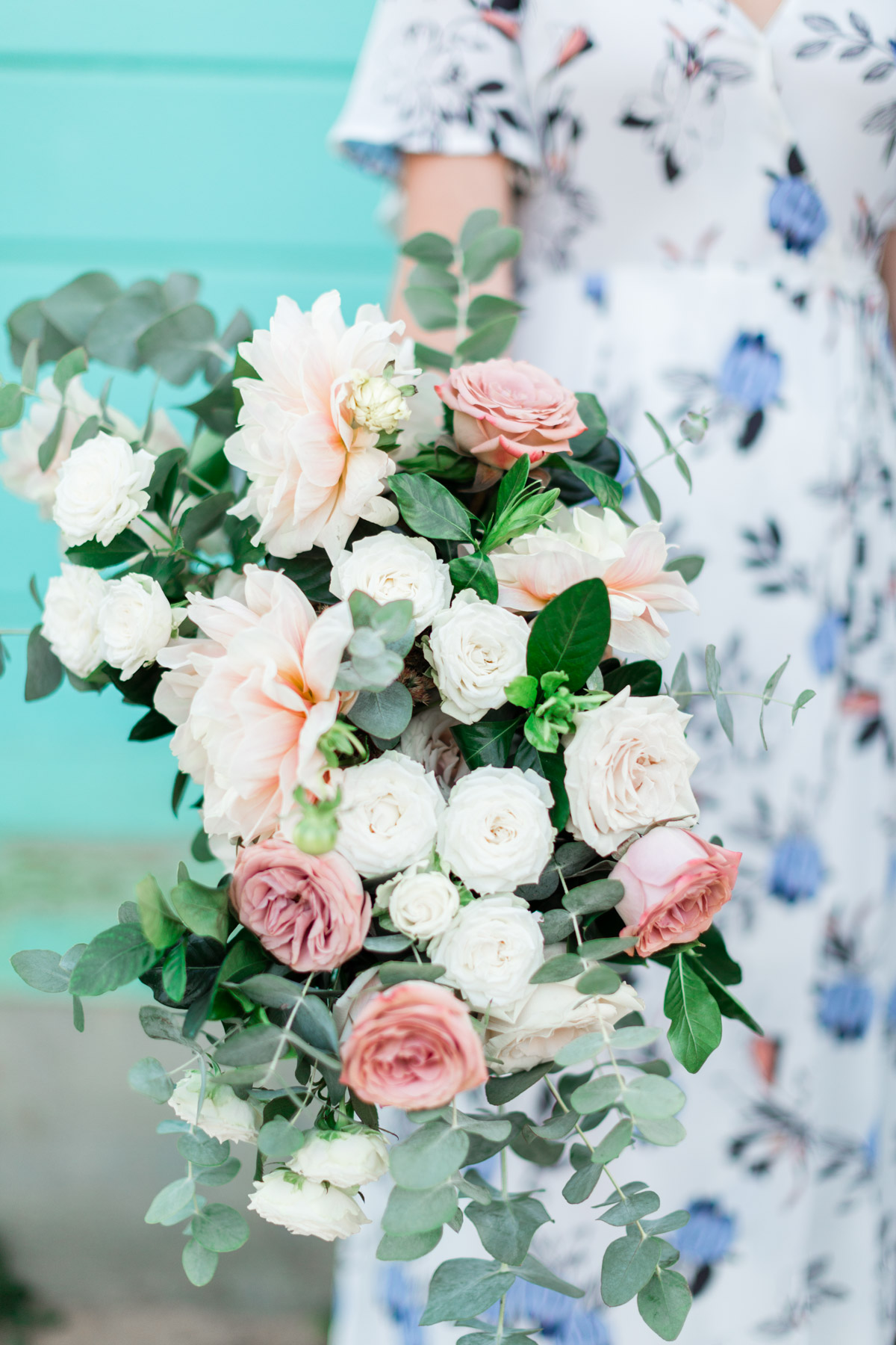 Romantic and elegant blush dahlia, white rose and eucalyptus bridal bouquet | Newport Beach, CA | Compass Floral | Wedding Florist in San Diego and Southern California | Cavin Elizabeth Photography