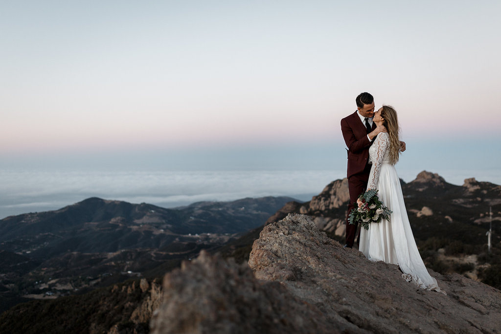 Sunrise Malibu Elopement | Malibu Mountains Weddings | Compass Floral Design | Wedding Florist in San Diego and Southern California | Devin Jenkins Photography  #elopement   #elopementinspiration  #wedding   #weddinginspiration   #bohowedding   #bohemianwedding   #weddingceremony   #outdoorceremony  #sandiegoweddingflorist   #ojaiweddingflorist   #santabarbaraweddingflorist   #romanticweddingflowers   #bridalstyle  #weddingfashion
