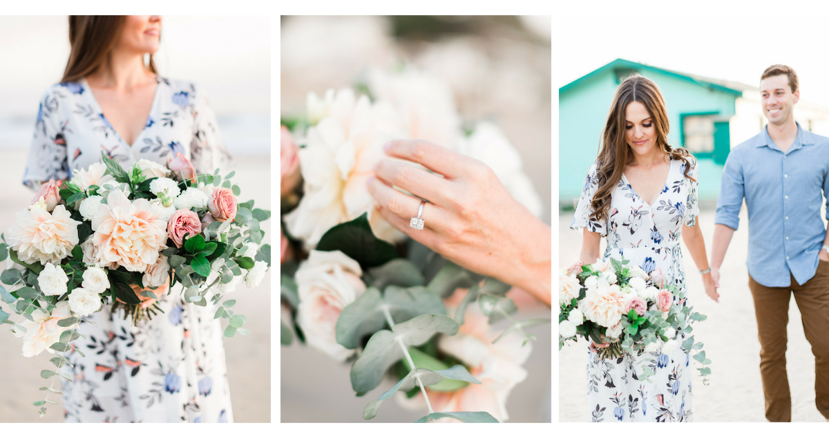 Cafe au lait dahlia engagement photo session bouquet | Newport Beach Weddings | Compass Floral | Wedding Florist in San Diego and Southern California | Cavin Elizabeth Photography