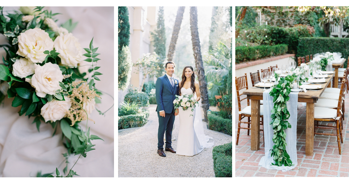 Green and white San Diego wedding, outdoor venue | Rancho Bernardo Inn | Compass Floral | Wedding Florist in San Diego and Southern California | Dear Lovers Photography