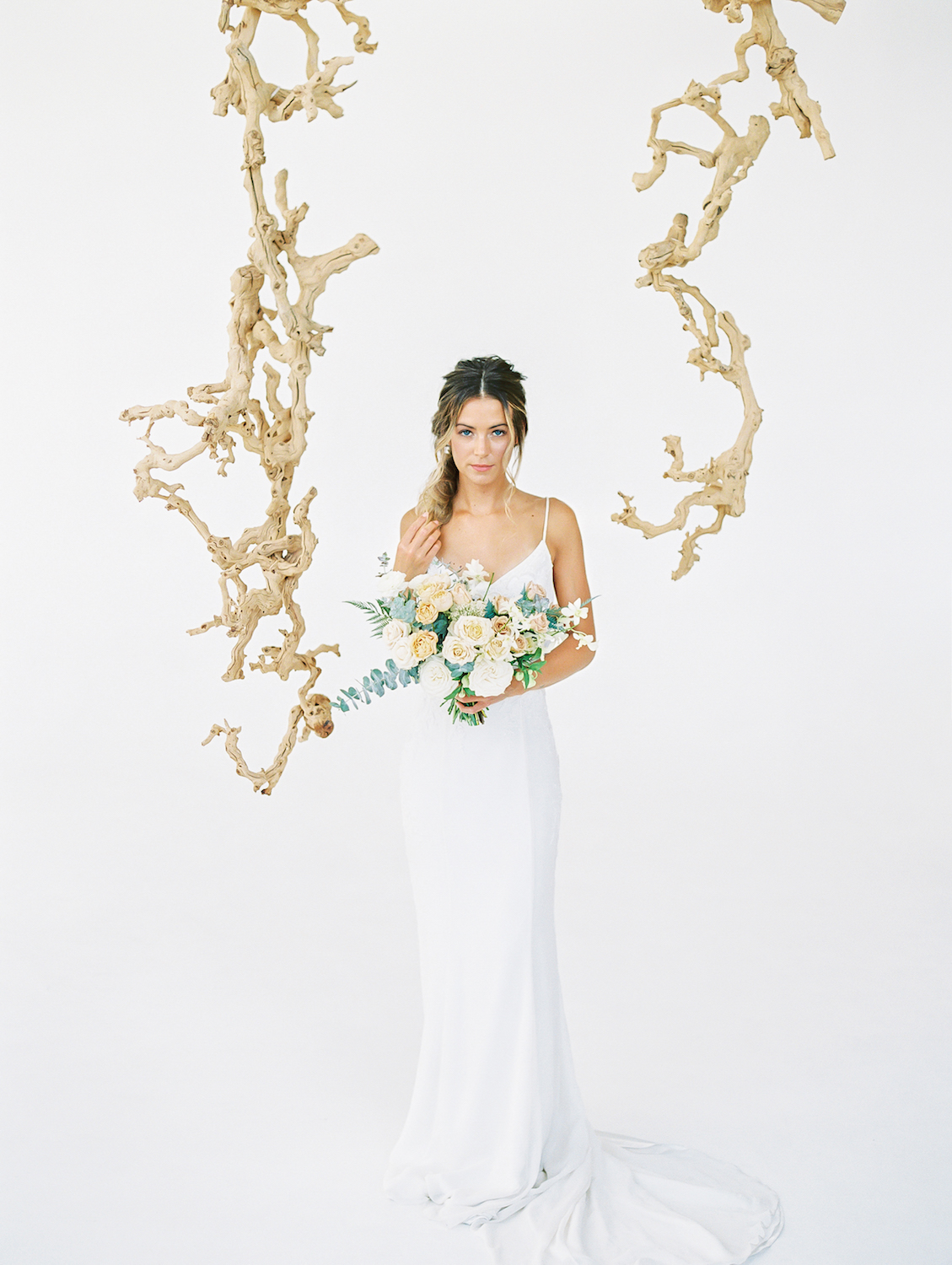 Hanging grapewood installation | Studio 710 | Compass Floral | Wedding Florist in San Diego and Southern California | Dear Lovers Photography