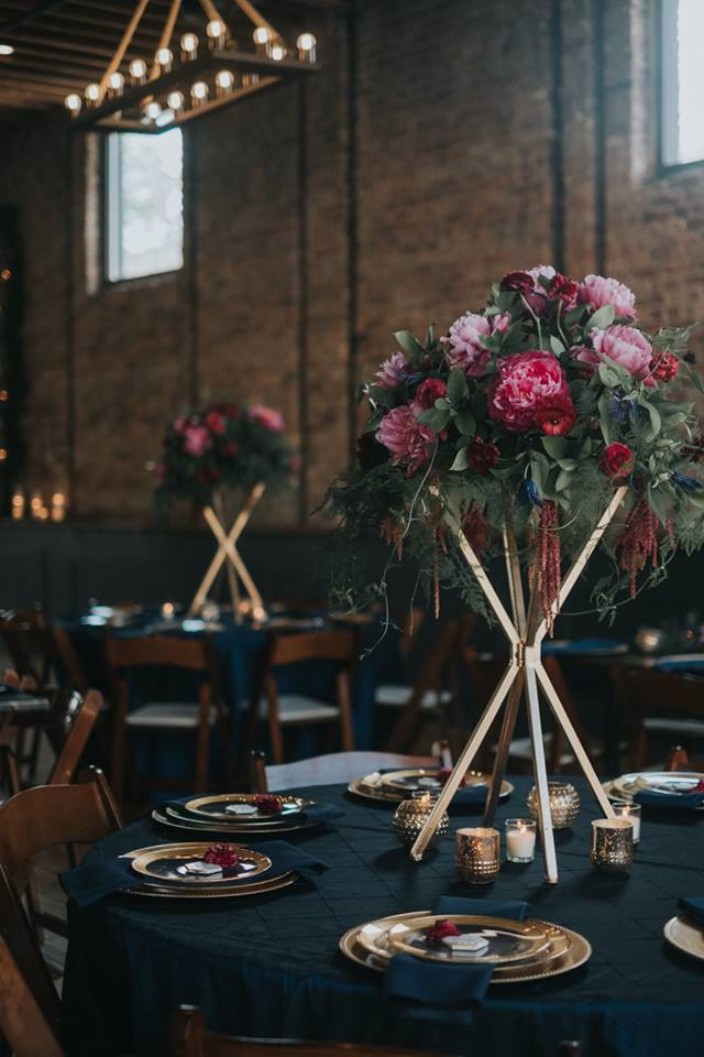 Photo Credits: Venue: Mercantile Hall , Floral: Jane Kelly Floral, Photography: Uttke Photography & Design, Rentals & Props: Gertrude & Evelyn Vintage Rentals, Paper Goods & Calligraphy: Uttke Photography & Design, Linens: Windy City Linens