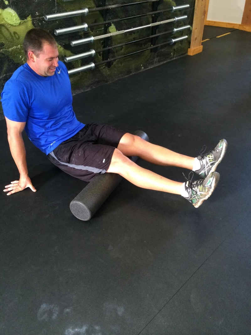 John rolling out after a nasty morning WOD.