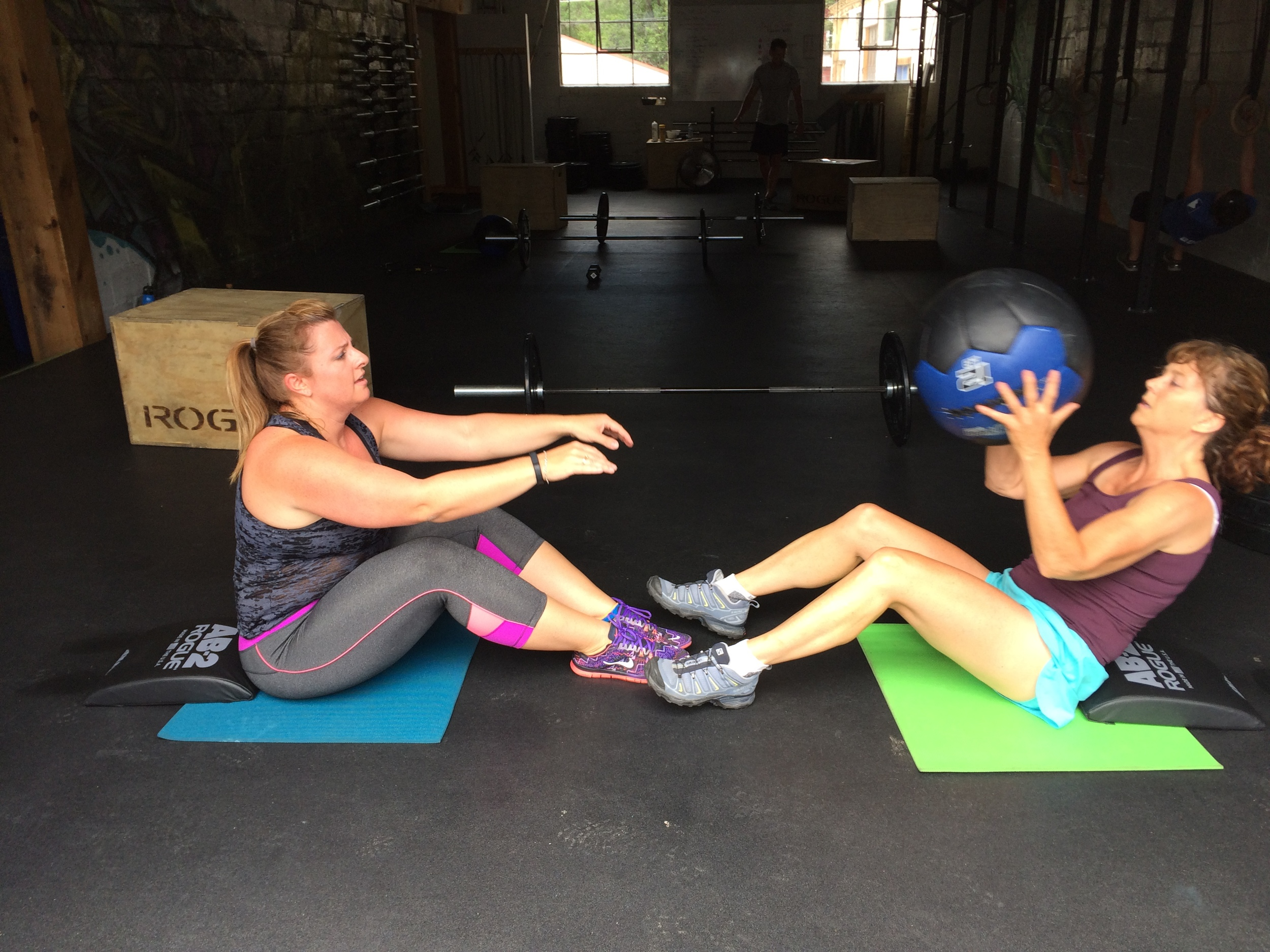 Roseann and Laura taking on the Deck of Cards Workout last week.