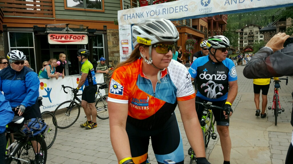 Laura rides the Courage classic every year to raise money and help local families defray the costs of treatment for their sick kiddos.