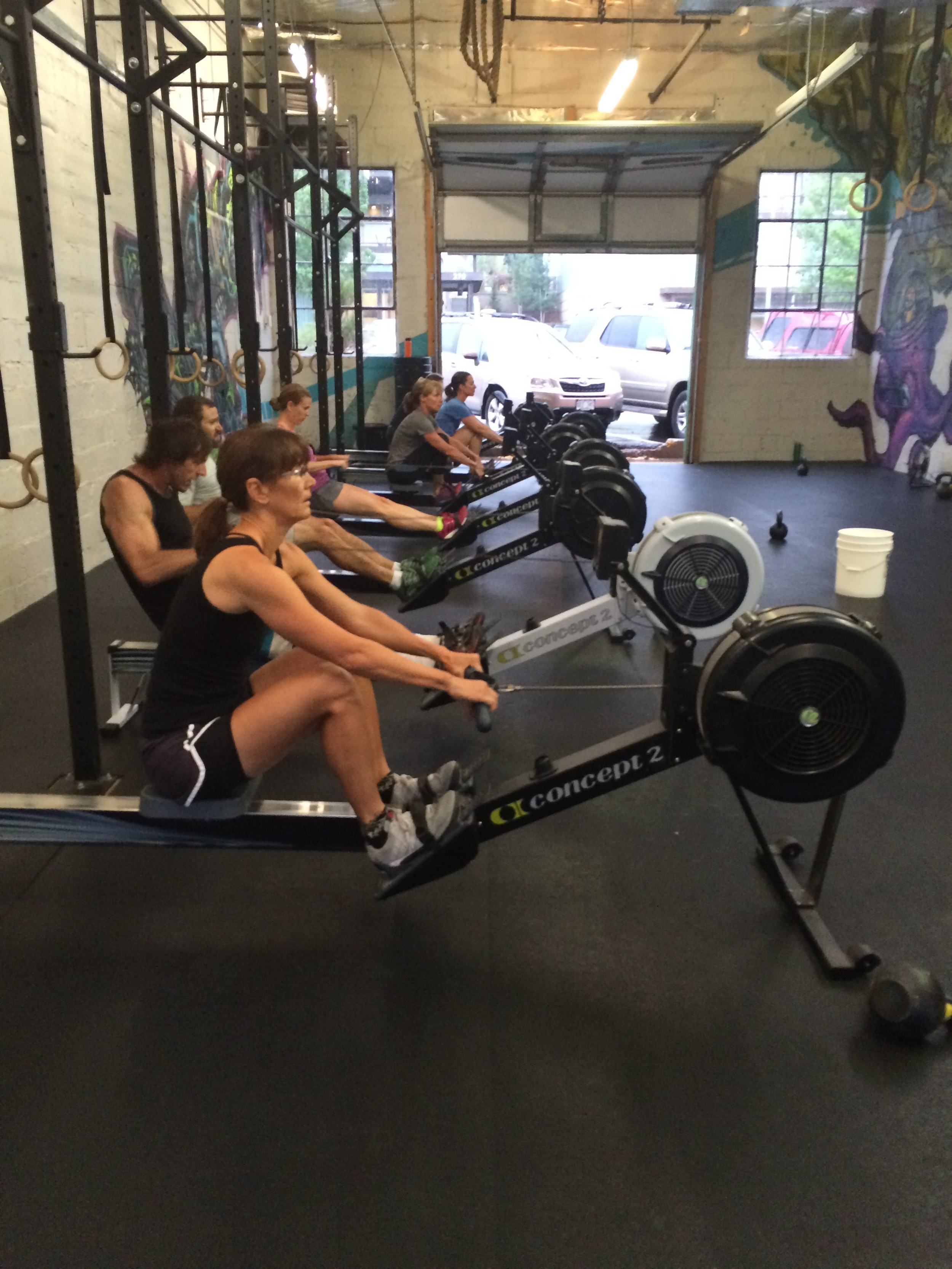 The Concept 2 rowers got a workout yesterday.
