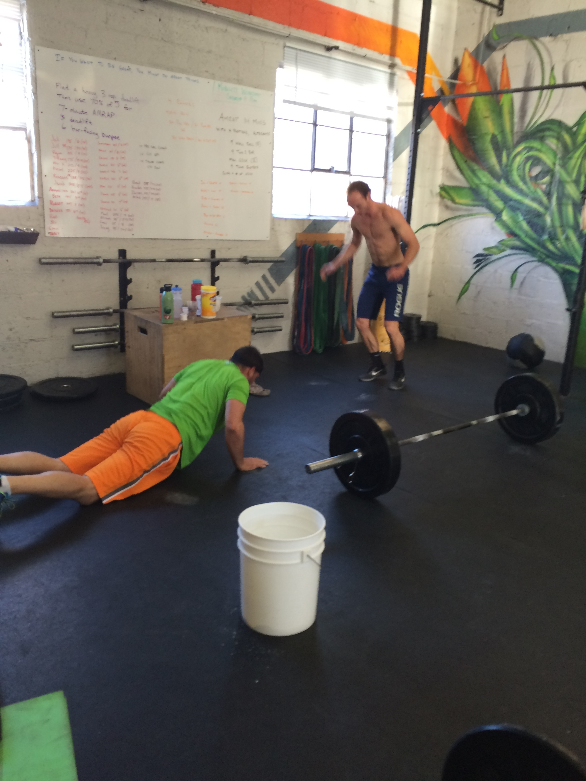 Taylor and John throwing down on Friday's Partner WOD.