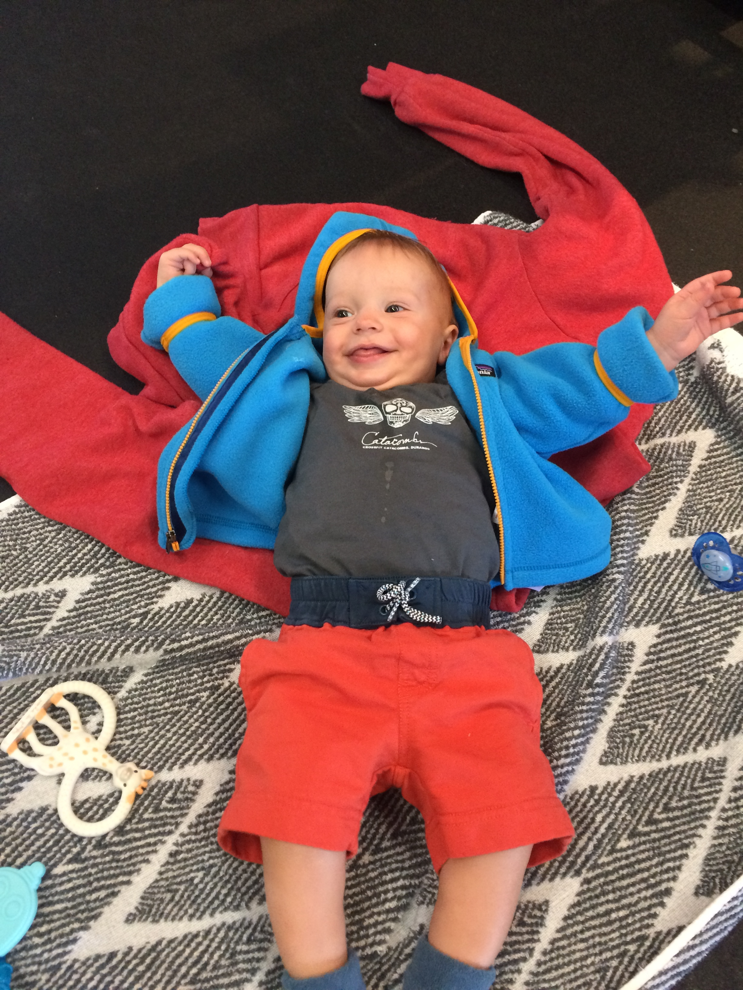 Shout out to Jennifer Floyd and Cartwheel Clothing for the Catacombs Onesie. Kudos to Baby George for repping it well!