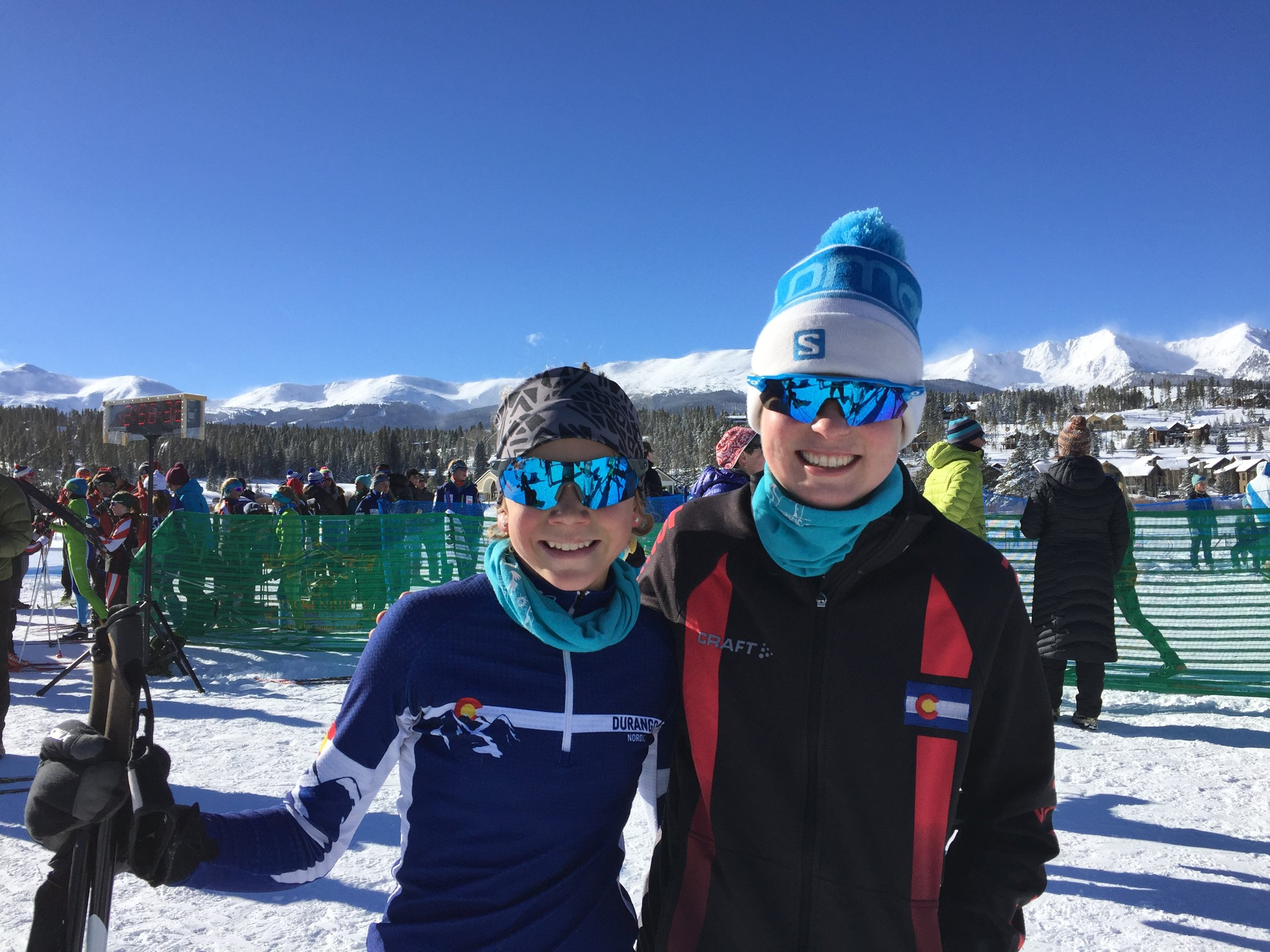 "Ruth and Coach Paige after an awesome first race of the season. These two are ""almost regulars"" at 5:30 and 6:30 AM classes. Catacombs is a proud sponsor of the Durango Nordic Ski Club and these kids spent their summer doing off-season training with us."