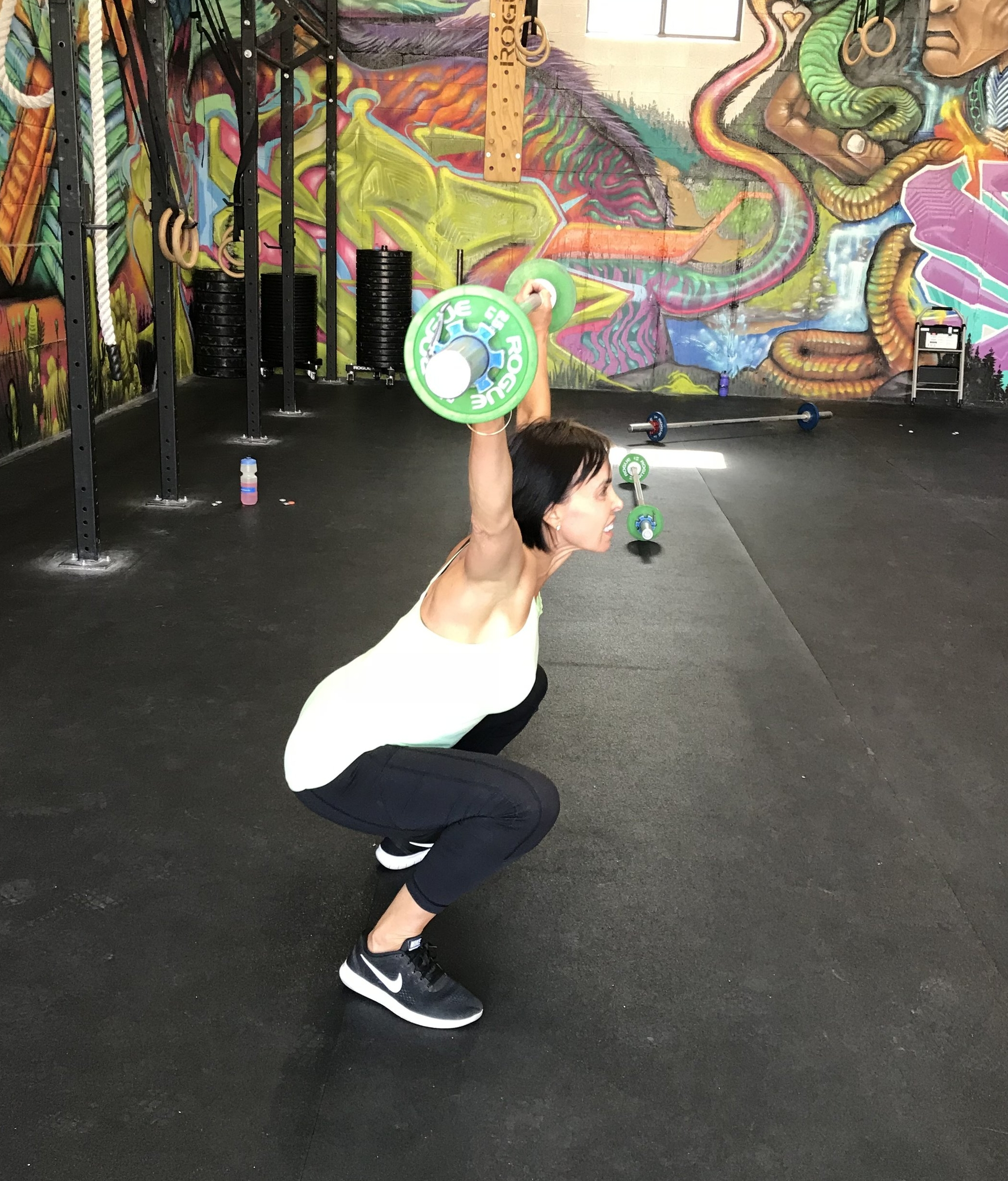 Sue crushing squat snatches. As always, form is more important that load.