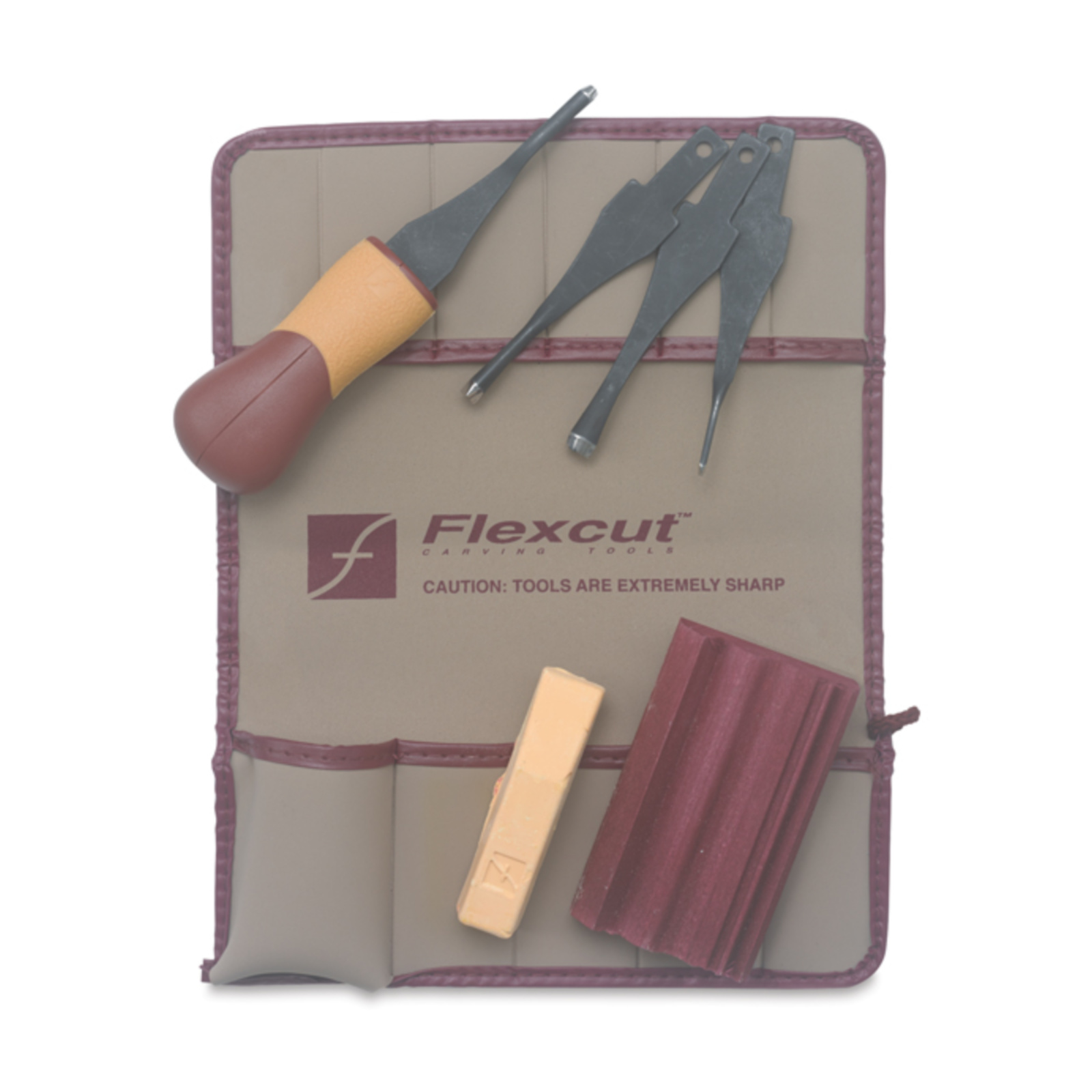 Flexcut Lino & Relief Printmaking Set - There are so many excellent cutters out there. I love this set because the blades are so quick and easy to swap out, and this is very affordable compared to other sets of this quality. This also comes with supplies to sharpen your blades, so you can always safely cut through the Golden-Cut Linoleum with ease.