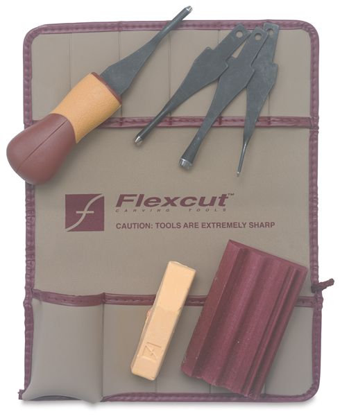 FLEXCUT LINO & RELIEF PRINTMAKING SET    There are so many excellent cutters out there. I love this set because the blades are so quick and easy to swap out, and this is very affordable compared to other sets of this quality. This also comes with supplies to sharpen your blades, so you can always safely cut through the Golden-Cut Linoleum with ease.