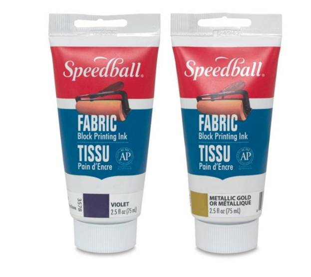 SPEEDBALL FABRIC AND PAPER BLOCK PRINTING INK    This ink is a great oil-based option that can be cleaned with soap and water. You can use it to print on paper or on fabric, which allows for a wider range of uses. Oil based inks require quicker attention to clean-up and care for your supplies. If you plan on printing on paper and aren't great about cleaning up immediately after your done, water based ink may be a better choice for you.