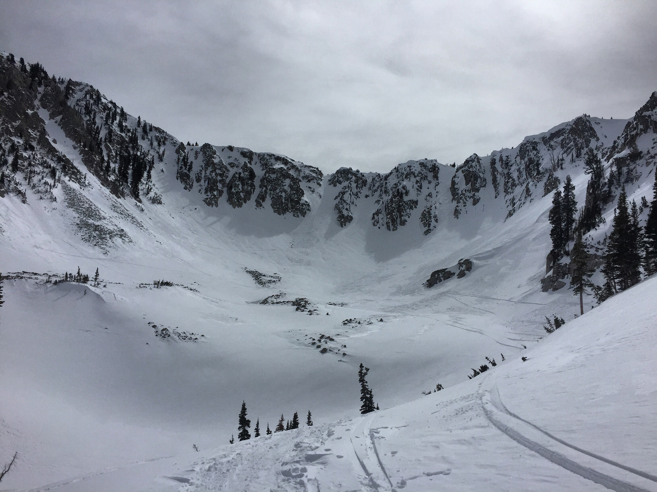 Wolverine Cirque, a popular backcountry skiing destination in Big Cottonwood Canyon.