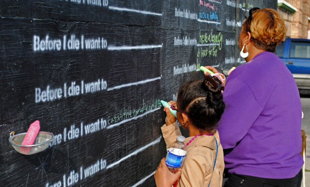 Chalkboard visioning intervention example from artist, Candy Chang .