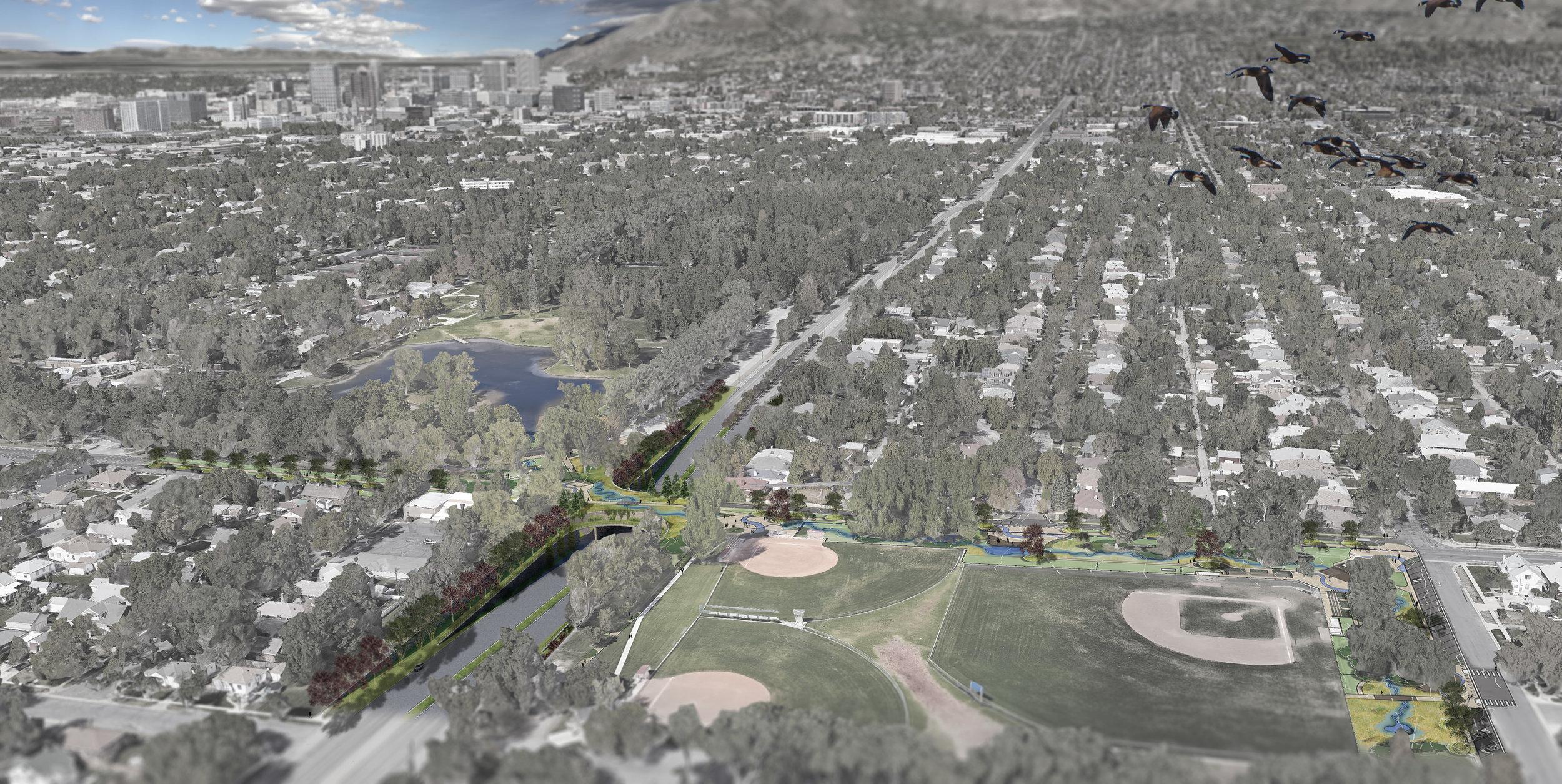 Design rendering to daylight Emigration Creek at Herman Franks Park.
