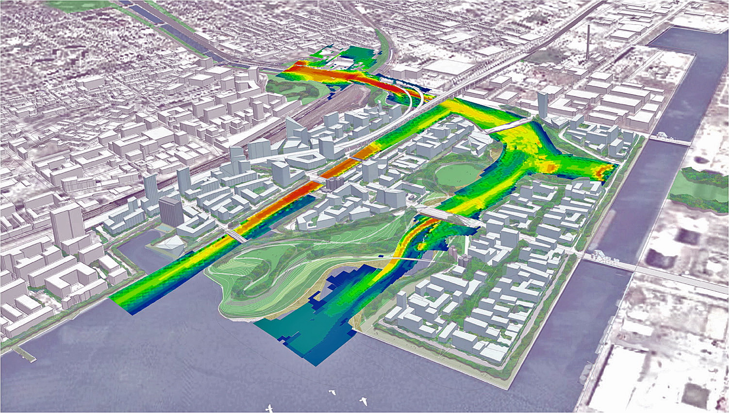 Newly designed channel, overlaid with water velocities, of the Don Mouth Naturalization and Port Lands Flood Protection Project in Toronto, Canada.