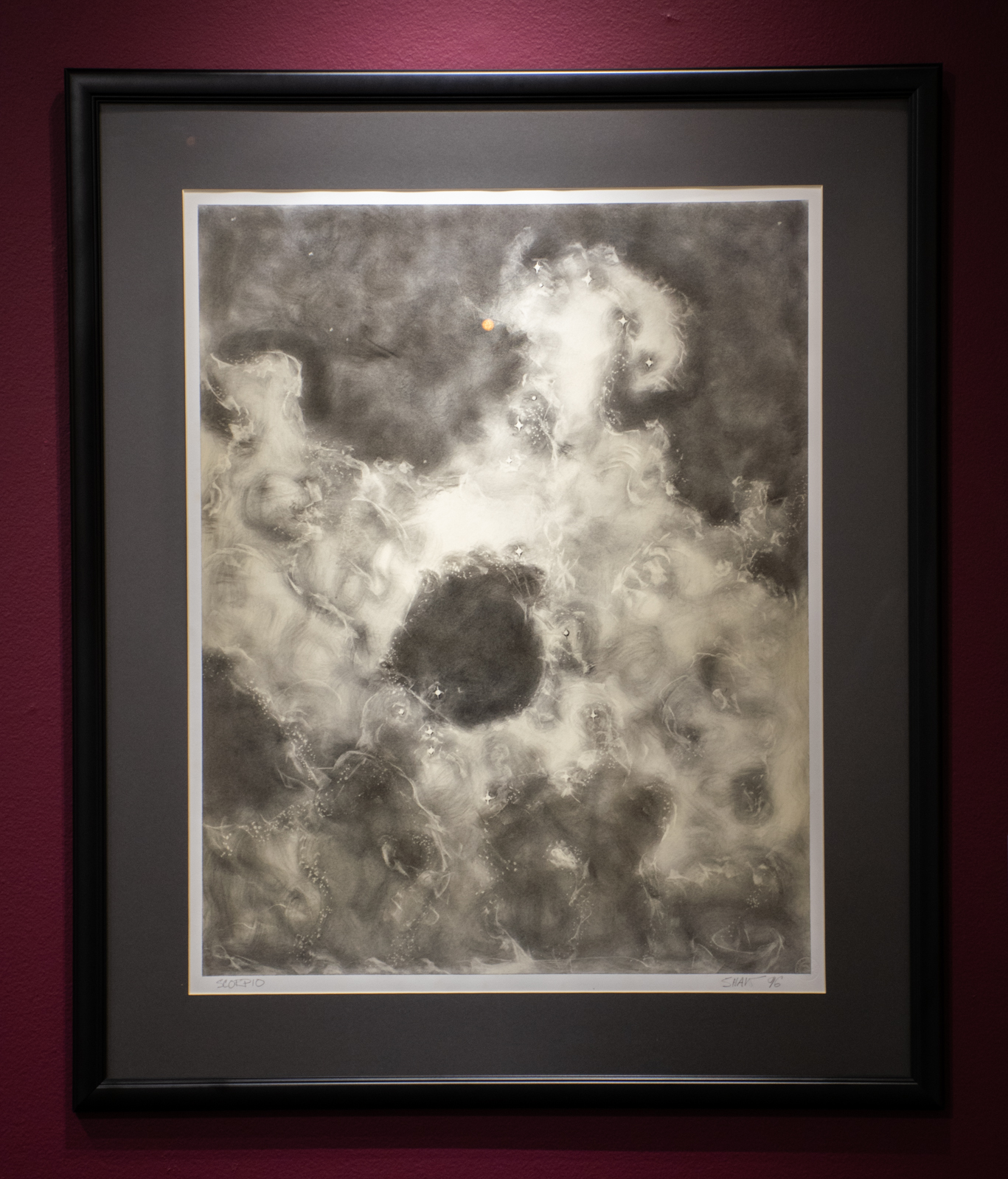 "Don Shaw (1934-2016), ""Scorpio: Night Star Series,"" 1996. Charcoal on paper."