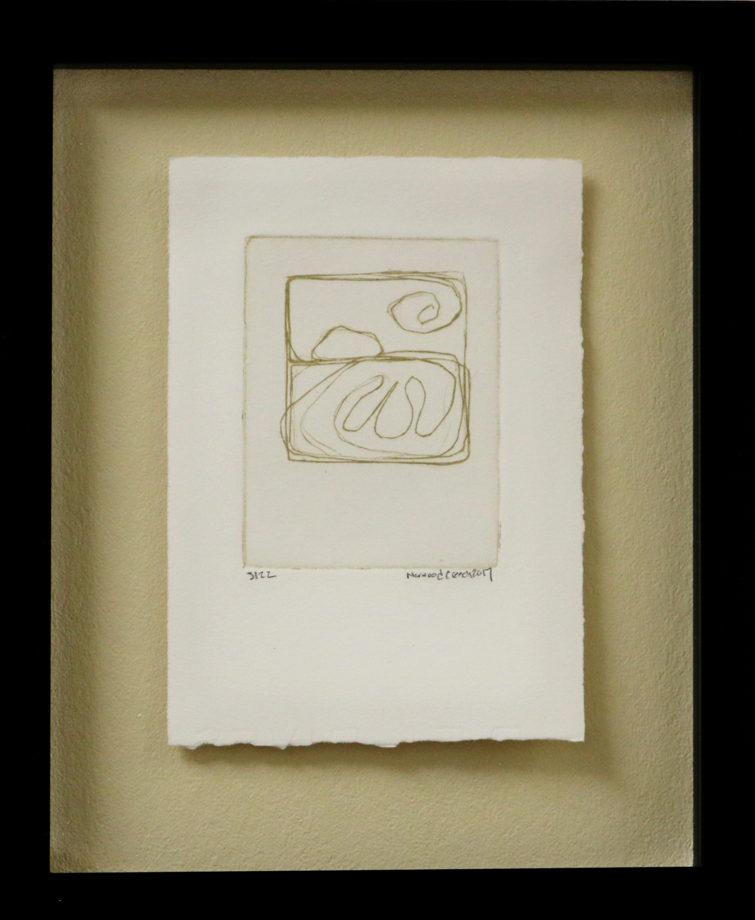 Norwood Creech   Gild the Delta Nodena   Engraving (Gold Ink and Zinc Plate on Paper)