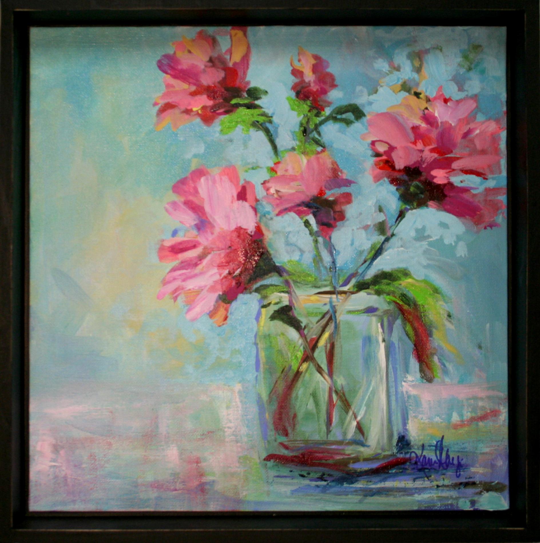 Karen Ahuja   Powder Blue Roses   Oil on Canvas