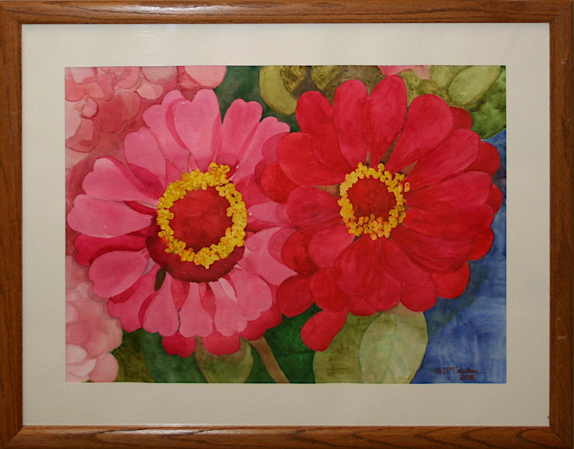 Aline Cantrell McCracken   Two Zinnias   Watercolor