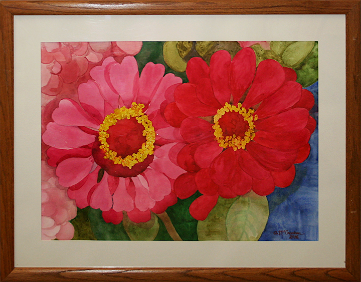 "Aline Cantrell McCracken, ""Two Zinnias"""