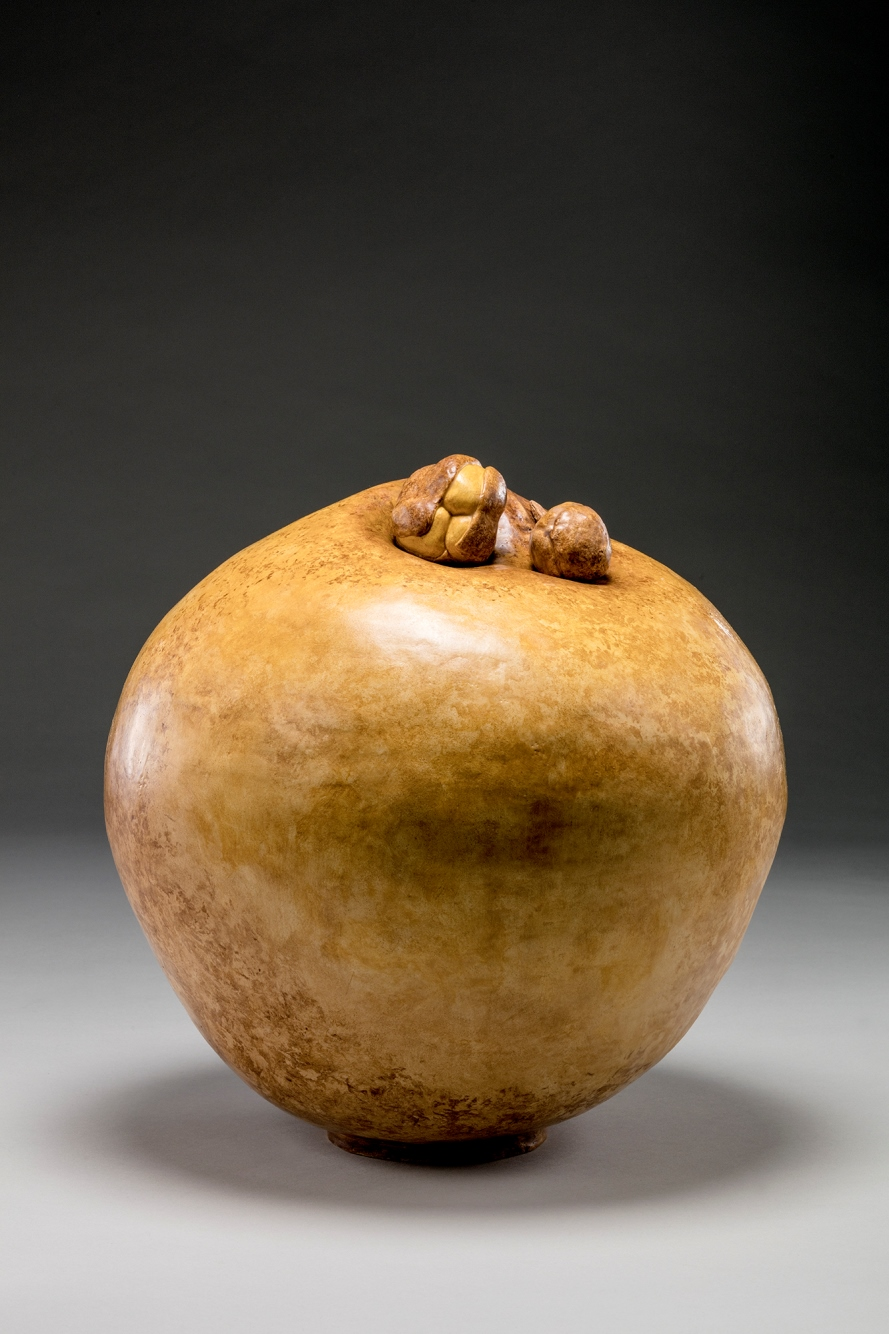 Barbara Satterfield   Two Pods   Earthenware Clay, Encaustic Oil Paint with Buckeye Seed molds