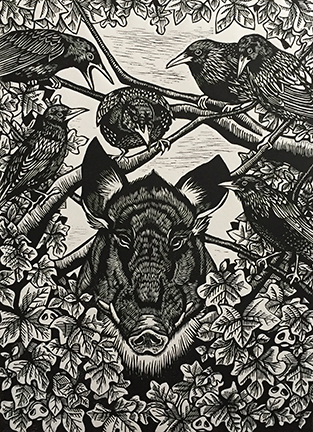 Daniella Napolitano of Little Rock earned the Juror's Choice award for the linocut  Curia Regis .