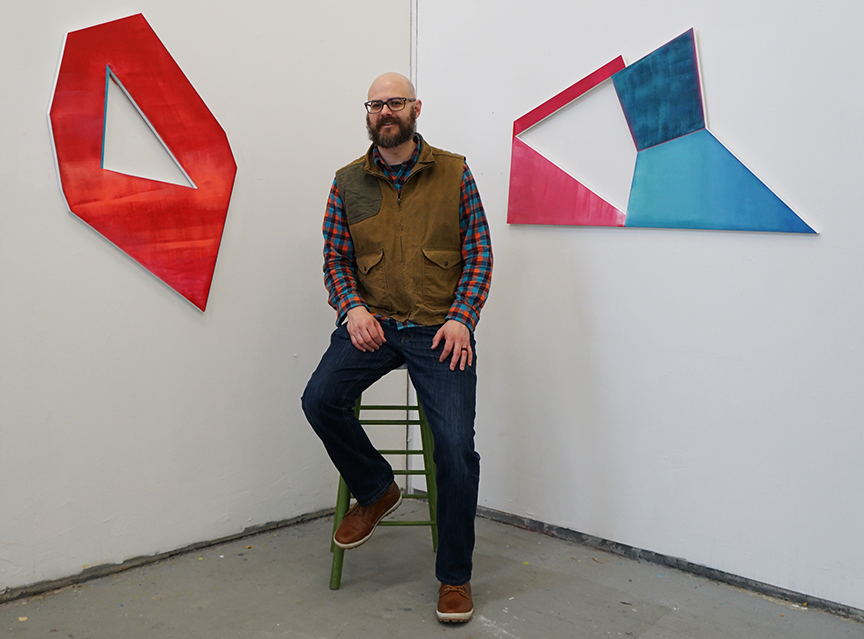 Dustyn Bork during a 2018 Vermont Studio Residency, featuring two works in his solo exhibition  Complex Shapes and Empty Space.  The exhibition is at the Arts & Science Center though Saturday, April 13. Photo by H Romero, courtesy of Dustyn Bork.