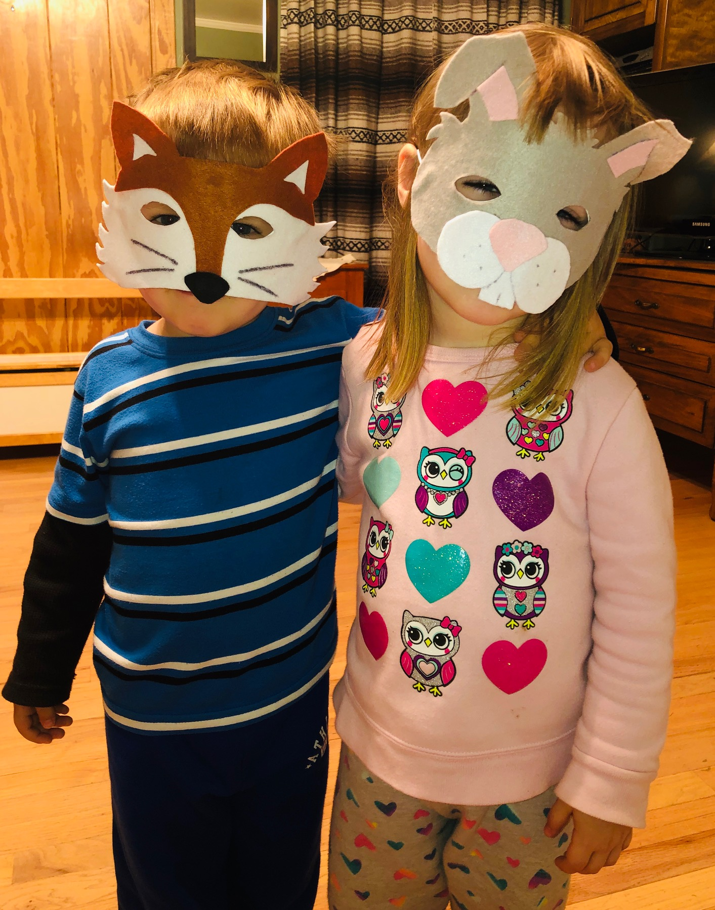 Attendees of Folktales Family Fun, 10-11:30 a.m. Saturday, March 2, will be invited to make masks of the French Creole folktale characters Bouki (left) and Lapin. (PHOTO COURTESY DR. ELISTA ISTRE)