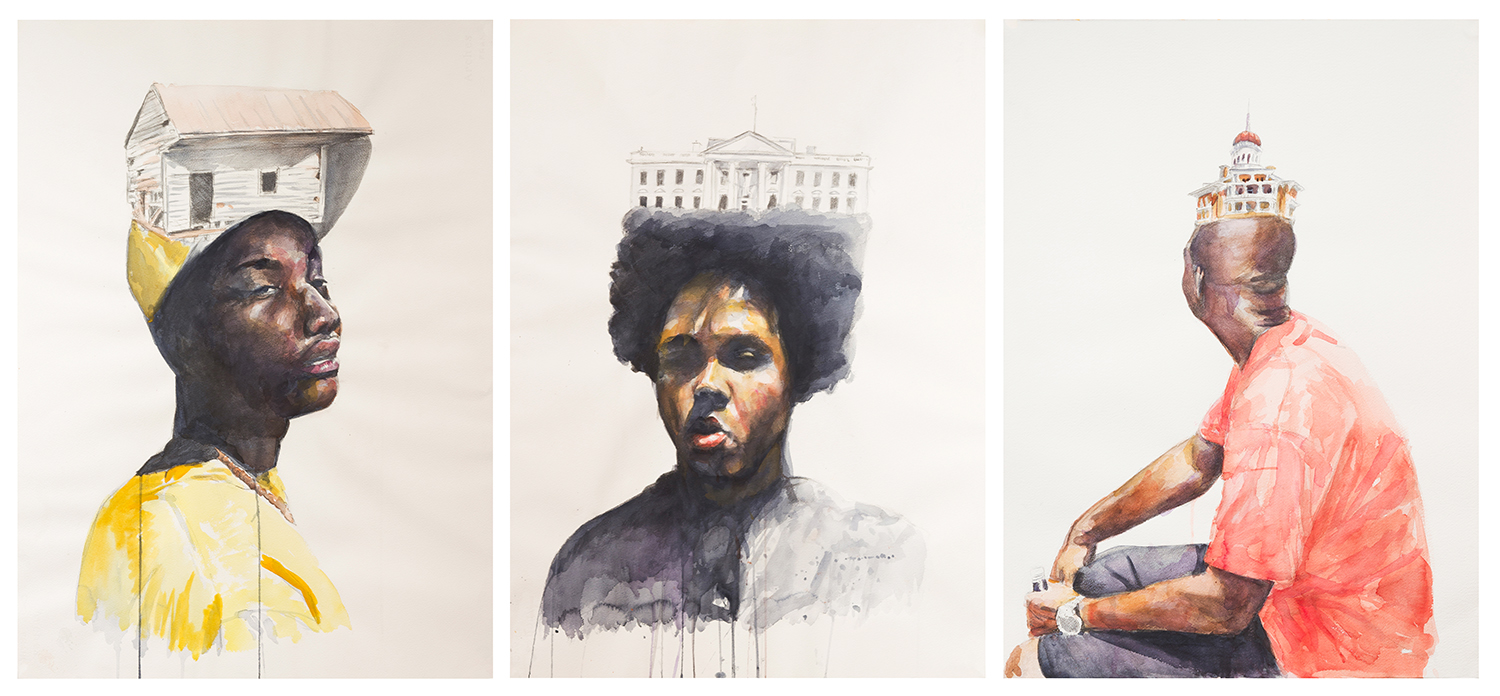 Justin Bryant,  All the King's Men , watercolor triptych, 2015. Selected for inclusion in the 2015 Irene Rosenzweig Juried Exhibition, the piece is now in ASC's Permanent Collection.