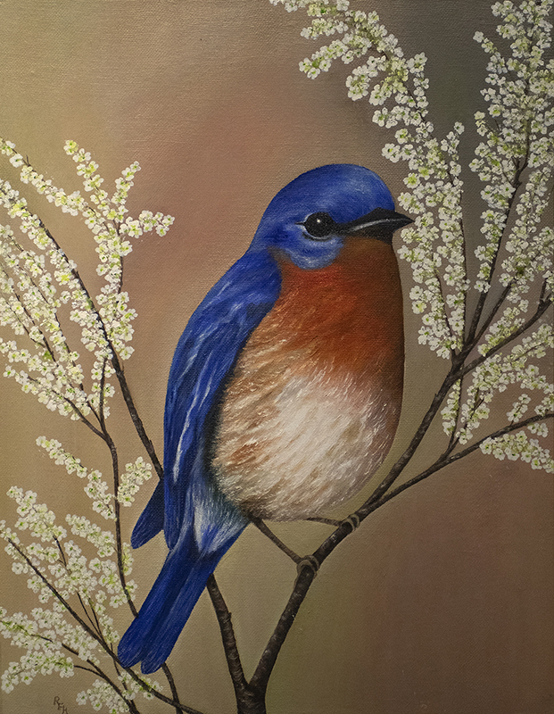 """Blue Bird"" by Rhonda Fleming Holderfield is one of 25 pieces in the 2019 Pine Bluff Art League Exhibition."