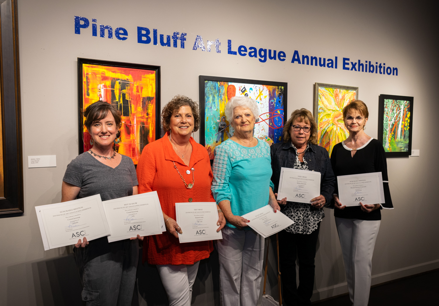 The winners of the 2019 Pine Bluff Art League Annual Exhibition are (from left) Crystal Jennings (Best in Show and Honorable Mention), Elizabeth Sadler (First Place), Dell Gorman (Second Place), Melissa Abernathy (Third Place), and Rhonda Fleming Holderfield (Honorable Mention).
