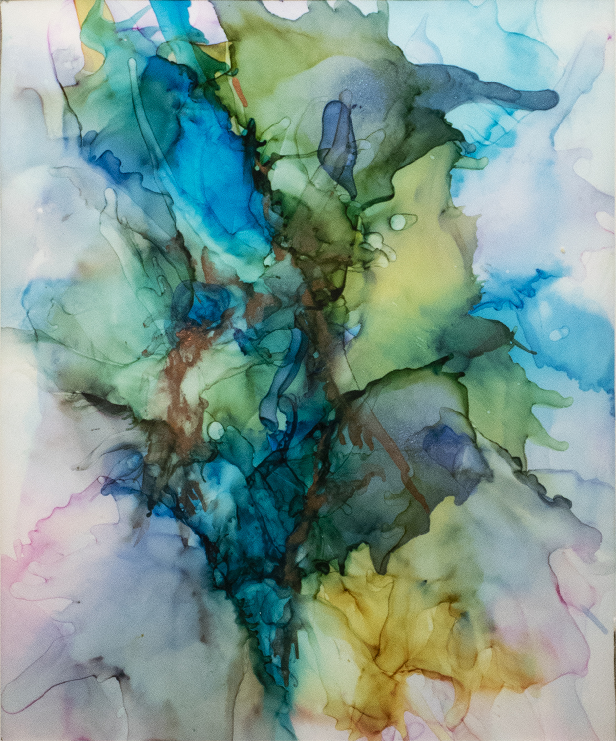 Elizabeth Sadler,  Blue Lady , alcohol ink on Yupo paper. 2019 First Place.
