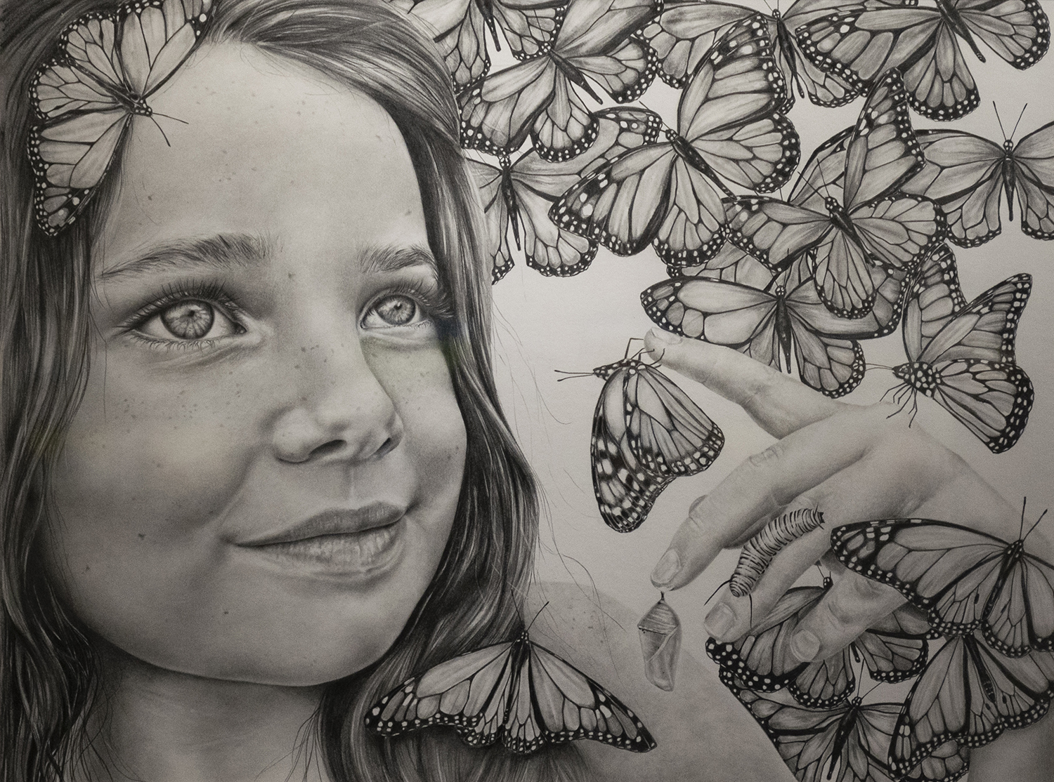 Crystal Jennings,  Chrysalis,  graphite. 2019 Honorable Mention.