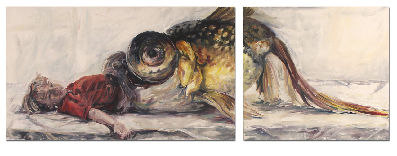 """They Call Him Jonah   by Andrew Scott of Denton, Texas; oil on wood panel, 24 inches by 70 inches"""", 2016. Scott's piece is one of the works selected for the 2019 Irene Rosenzweig Biennial Juried Exhibition at The Arts & Science Center. The exhibition runs Thursday, Oct. 10, 2019, through Jan. 4, 2020."""