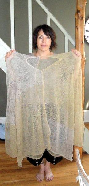 Merino wool & silk wrapped stainless steel sweater - pre-felting stage