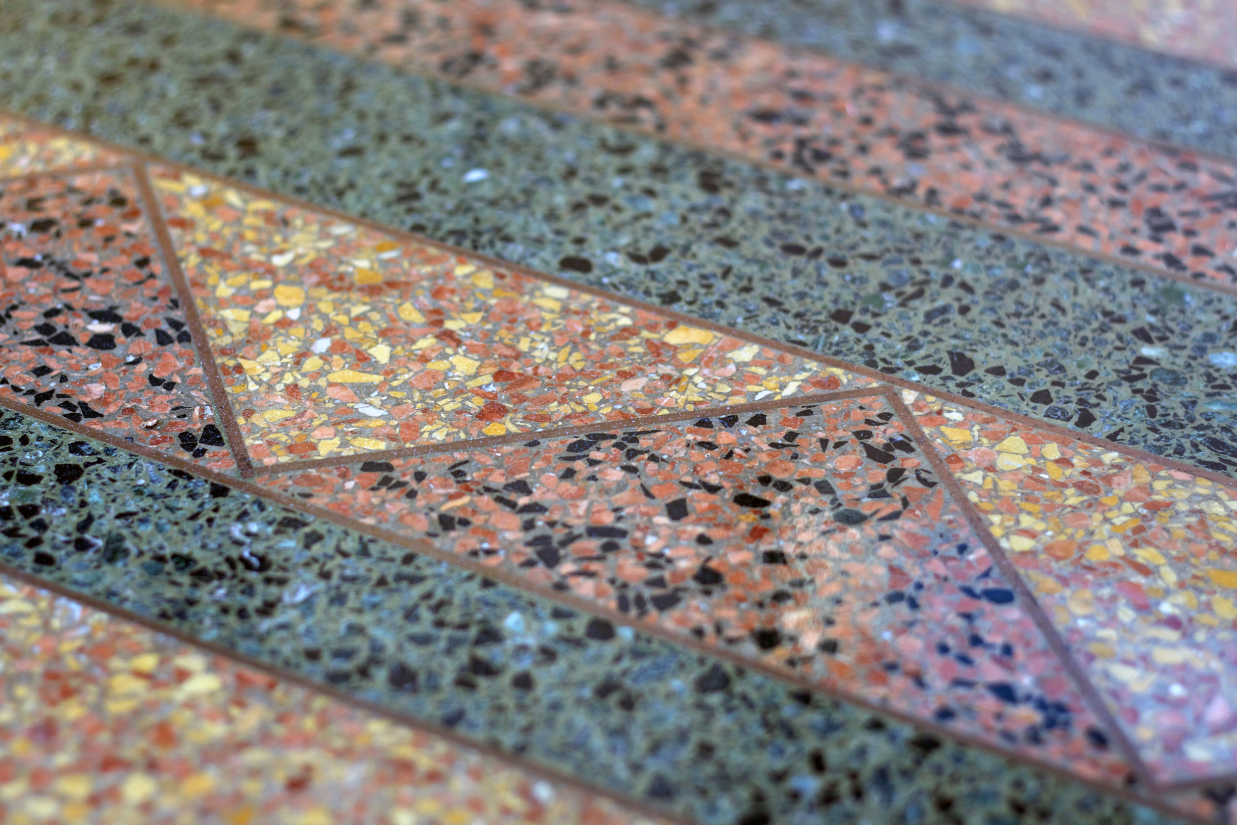 Example of Zakalak Restoration Terrazzo restoration, in a beautiful, multi-color zig-zag pattern.