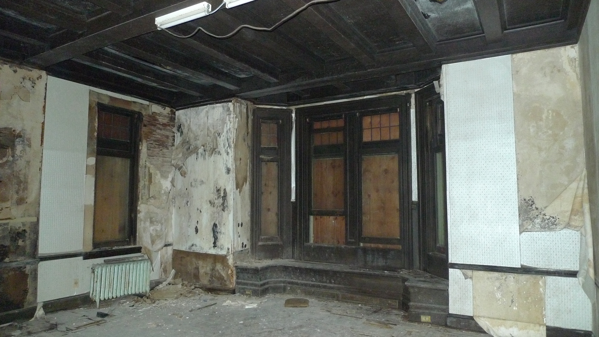 Windows in Wright-Clark house prior to removal.
